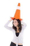 Hispanic Woman with safety cone Royalty Free Stock Photos