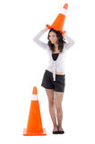 Hispanic Woman with safety cone Stock Images