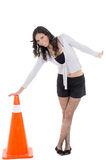 Hispanic Woman with safety cone Stock Image