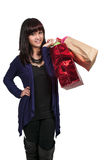 Hispanic Woman with Shopping Bags Stock Image