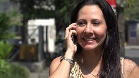 Hispanic Woman Talking on Cell Phone stock video