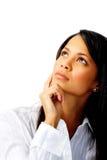 Hispanic woman thinking Royalty Free Stock Images
