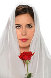 Hispanic Woman With Veil and Rose Stock Photography