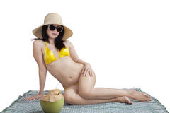 Hispanic woman wearing bikini Royalty Free Stock Images