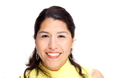 Hispanic woman on white backlground Royalty Free Stock Photo