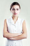 Hispanic woman in white blouse Stock Photography
