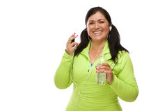 Hispanic Woman In Workout Clothes with Music Player and Headphon Stock Photos
