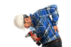 Hispanic Worker Getting back injury Stock Photos