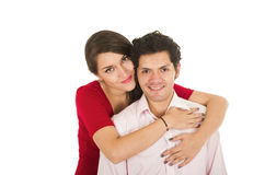 Hispanic young couple hugging Royalty Free Stock Image