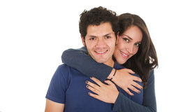 Hispanic young couple hugging Stock Photo