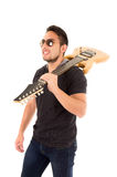 Hispanic young man holding electric guitar Royalty Free Stock Photography