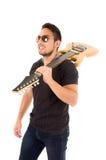 Hispanic young man holding electric guitar Stock Photo