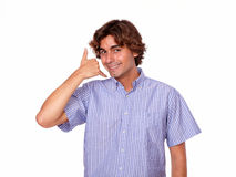 Hispanic young man saying call me Royalty Free Stock Image