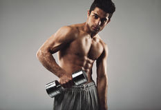 Hispanic young man working out with heavy dumbbell Stock Photography
