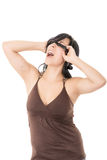 Hispanic young woman blindfolded. Black cloth Stock Photography