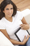 Hispanic Young Woman Girl with Tablet Computer Stock Images