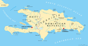 Hispaniola Political Map with Haiti and Dominican Republic. Located in the Caribbean island group, the Greater Antilles. With capitals, national borders Royalty Free Stock Images