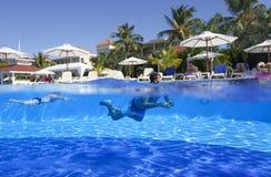 Hispaniolaeiland, Dominicaanse Republiek, Hotel Grote Bahia Principe Aquamarine, 12 07 2018 royalty-vrije stock foto