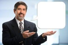 Hispanischer Geschäftsmann With Bubble Text Lizenzfreies Stockfoto
