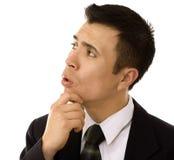 Hispanisches Geschäftsmann-Denken Lizenzfreie Stockfotos