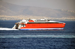 Hispeed ship. Traveling to sea Royalty Free Stock Photography