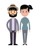 Hispter man and young girl couple relation together Stock Images