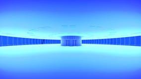 hiss Framtida stadshorisont för begrepp Futuristiskt affärsvisionbegrepp illustration 3d stock illustrationer