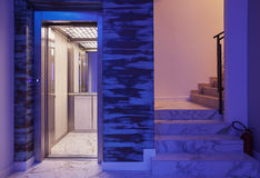 Hiss och trappa i hotell Royaltyfri Foto