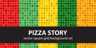 História ajustada da pizza do teste padrão quadrado Fundos sem emenda da telha do vetor ilustração royalty free