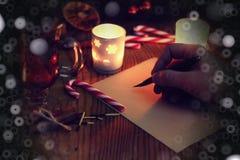 História da escrita da mão do Natal Imagem de Stock
