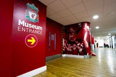 A história de Liverpool FC, o museu de Liverpool FC no Reino Unido Foto de Stock Royalty Free