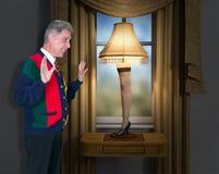História engraçada do Natal da lâmpada do pé fotos de stock