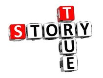 história verdadeira das palavras cruzadas 3D no fundo branco Fotografia de Stock