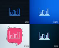 Histogram chart line icon. Financial graph. Glitch, Neon effect. Histogram Column chart line icon. Financial graph sign. Stock exchange symbol. Business Stock Photo