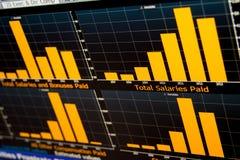 Histogram chart of salaries data. Financial chart, with orange histogram charts showing evolution of salaries data Stock Photo