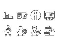 Histogram, Search people and Engineer icons. Atm, Feedback and Shopping signs. Set of Histogram, Search people and Engineer icons. Atm, Feedback and Shopping Stock Image