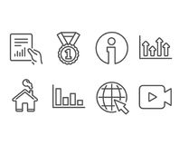 Histogram, Upper arrows and Best rank icons. Internet, Document and Video camera signs. Set of Histogram, Upper arrows and Best rank icons. Internet, Document Royalty Free Stock Photos