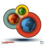 Histograma de Infographic de tres mundos, gráficos de la carta Imagen de archivo