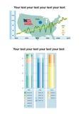 Histogramme d'Infographic avec le secteur des textes Photos libres de droits