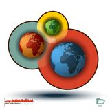 Histogramme d'Infographic des trois mondes, dessins de diagramme Image stock