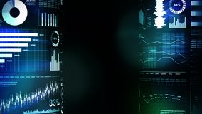 Histogrammes financiers et graphiques croissants Infographics d'affaires avec la profondeur du champ sur le fond bleu-foncé La ré illustration de vecteur
