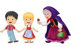 Histoire classique Hansel et Gretel d'enfants avec une sorcière d'isolement sur le fond blanc Photos libres de droits