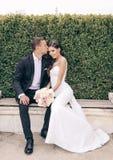 Histoire d'amour, épousant la photo de beaux couples Image libre de droits