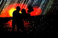 Histoire d'amour de coucher du soleil en mer Photo libre de droits