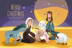 Histoire de bible de Noël Carte de nativité de Noël illustration stock