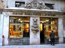Histoire de boutique de la fin des 700 Romanengo Gênes Images stock