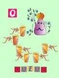 Histoire de thé Lettre Q queue Alphabet anglais de bande dessinée mignonne avec l'image et le mot colorés illustration libre de droits