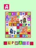 Histoire de thé Marquez avec des lettres A Alphabet anglais de bande dessinée mignonne avec l'image et le mot colorés Photographie stock
