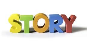Histoire multicolore de mot faite de bois. Photos libres de droits