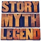 Histoire, mythe, abrégé sur mot de légende dans le type en bois Images libres de droits